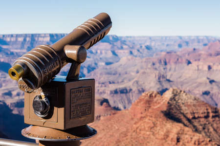 optical instrument: View of grand Canyon from South Rim in the Winter. Stock Photo