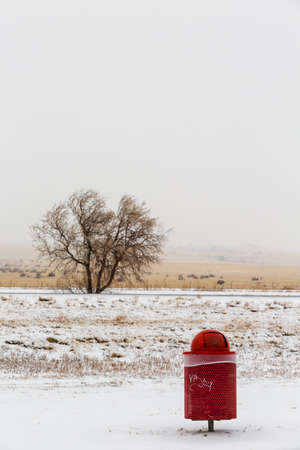 Winter storm on the middle of the country side.