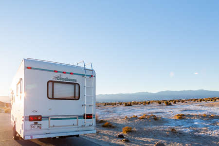 rv: Death Valley National Park, California, USA-December 24, 2014. Typical winter RV camping in Death Valley.