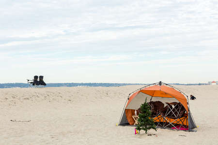 Coronado, California, USA-December 28, 2014. Winter RV camping on cost of California.