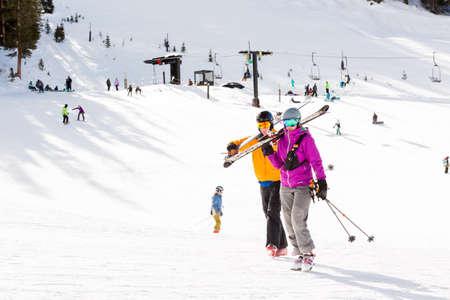 ski run: Arapahoe Basin, Colorado, USA-January 18, 2015. Mid season skiing at Araphoe basing ski resort. Editorial