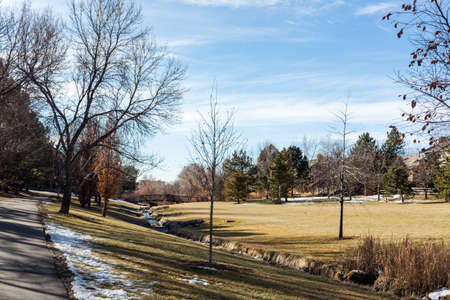 suburban: Typical suburban American park in late January. Stock Photo