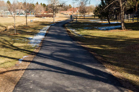 suburbia: Typical suburban American park in late January. Stock Photo