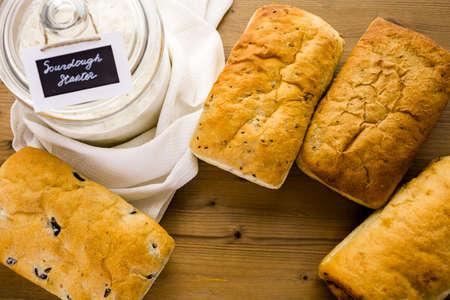 Fresh artisan sourdough breads on the table.