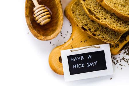 Fresh artisan sourdough rye bread on the table. Imagens - 35684719