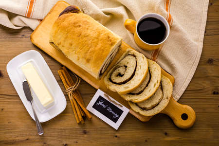 cinnamon swirl: Fresh artisan sourdough cinnamon swirl bread on the table.