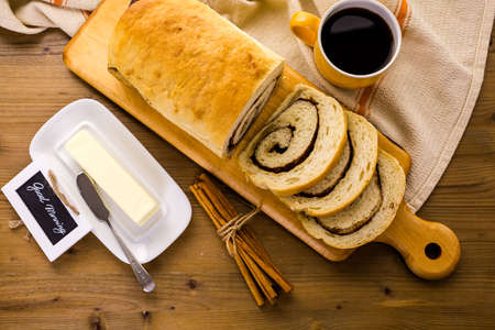 energizing: Fresh artisan sourdough cinnamon swirl bread on the table.