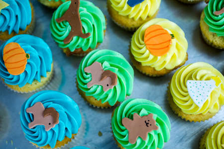 pastrie: Making multicolor cupcakes for kids birthday party.