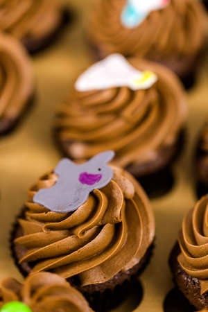 pastrie: Fresh Chocolate cupcakes in the box.