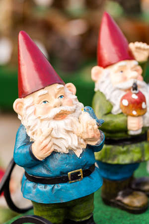 lawn gnome: Small garden gnomes for private garden. Stock Photo