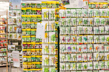 Denver, Colorado, USA-February 3, 2015. Variety of seeds on display in garden center. Editorial