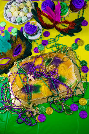 shrove: Table decorated for Mardi Gras party.