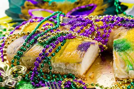 fat tuesday: Table decorated for Mardi Gras party.