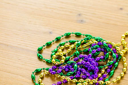 multicolored: Multicolored decorations for Mardi Gras party on the table.