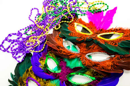shrove tuesday: Multicolored decorations for Mardi Gras party on the table.