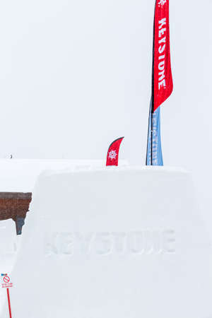 keystone: Keystone, Colorado, USA-February 22, 2015.  Ski resort at the end of the season after the snow storm in Colorado. Editorial