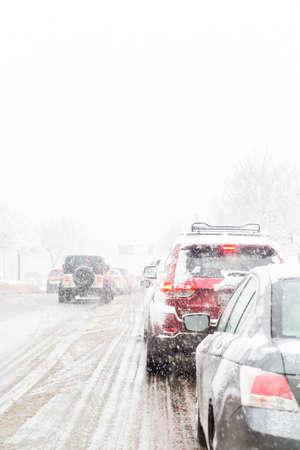 snow storm: Denver, Colorado, USA-February 25, 2015. Road traffic during the snow storm.