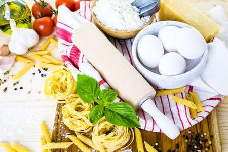 vegetabilis: Ingredients for making fettuccine pasta recipe. Stock Photo