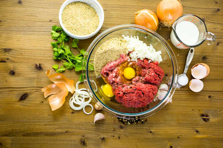Ingredients for meatballs recipe on the table.