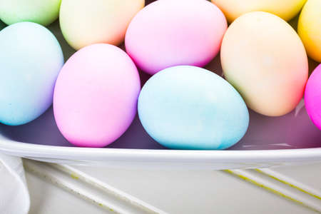 pasch: Painted with pastel colors Easter eggs. Stock Photo