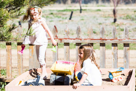 sandpit: Denver, Colorado, USA-March 28, 2015. Typical second birthday party at the community farm. Editorial