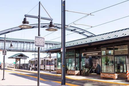 lone  tree: Denver, Colorado, USA-April 13, 2015. Lincoln lightrail station in Lone Tree, Colorado.