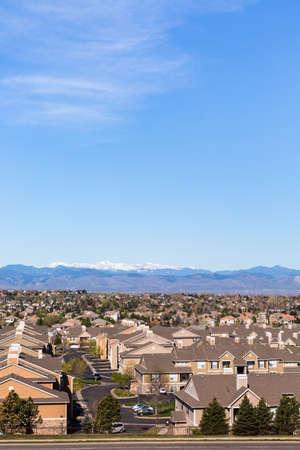 suburbia: Denver, Colorado, USA-April 13, 2015. Aerial view of typical suburbia in North America.