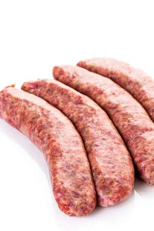 italian sausage: Raw Italian sausage on a white background. Stock Photo
