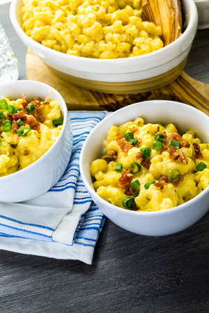 vegetus: Macaroni and cheese garnished with bacon bits and chives. Stock Photo