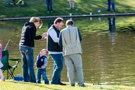 minors: Annual Fishing Derby at Tommy Davis Park, Greenwood Village, Colorado. Editorial