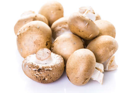 bella: Organic baby bella mushrooms on a white background.