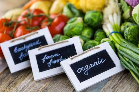 farm fresh: Fresh organic vegetable in season on old farm table.