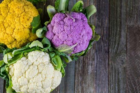 vegetare: Rainbow of organic cauliflower from the local market.