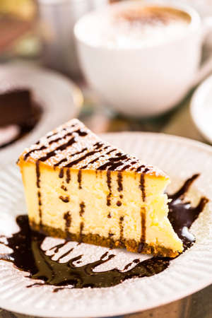 energizing: Fresh Italian cheesecake with coffee on the table. Stock Photo