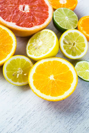 Sliced fresh citrus fruit for making infused water.