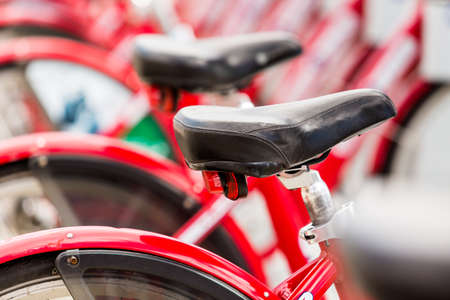 Row of red rental bikes at the Union Station in Denver, Colorado. Stock Photo