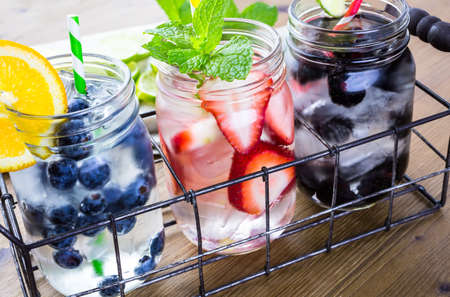 Infused water with fresh organic berries.