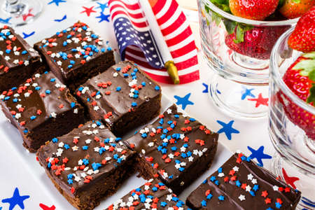 july 4th fourth: Variety of desserts on the table for July 4th party. Stock Photo