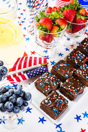 Variety of desserts on the table for July 4th party. Reklamní fotografie