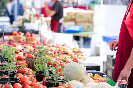 farmers: Summer farmers market on Main Street in Parker, Colorado.