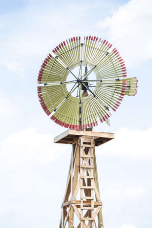 midwest: Historical windmill on old farm on midwest .
