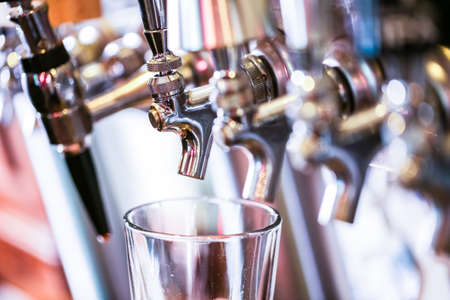 draft beer: Close up of beer lines for draft beer in restaurant.