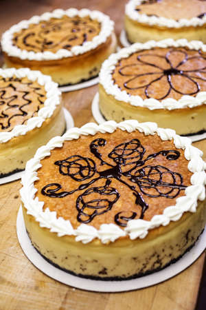 indulgence: Cheesecakes prepared in the kitchen of Italian restaurant.