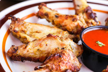 oven chicken: Appetizer plate with wood fired oven chicken wings.