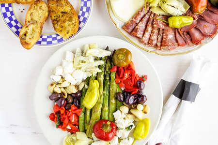 antipasto: Appetizers plate with vegetarian antipasto in Italian restaurant.