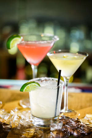 Variety of cocktails at the bar. Stock Photo