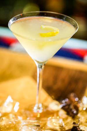 Limoncello martini cocktail prepared at the bar. Stock Photo