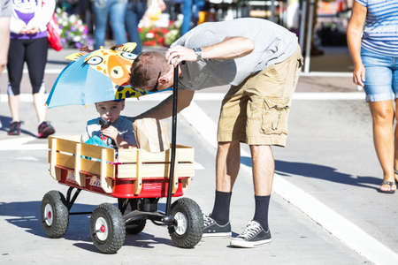 main street: Parker, Colorado, USA-May 31, 2015. Summer farmers market on Main Street in Parker, Colorado. Editorial