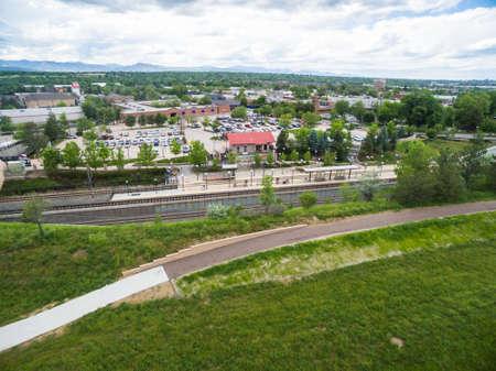 littleton: Aerial view of Downtown Littleton light rail station. Editorial