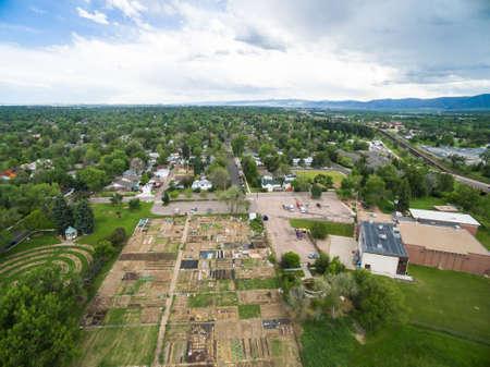 littleton: Aerial view of urban gardens in Littleton, Colorado. Stock Photo